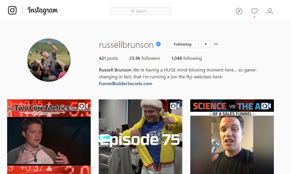 how to use instagram Russell Brunson