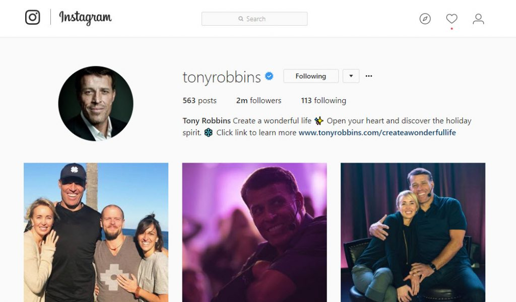 how to use instagram Tonyrobbins