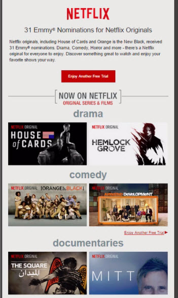 Netflix email marketing templates