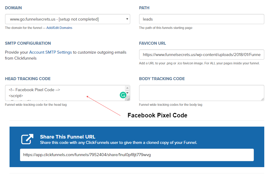 set up facebook pixel in clickfunnels
