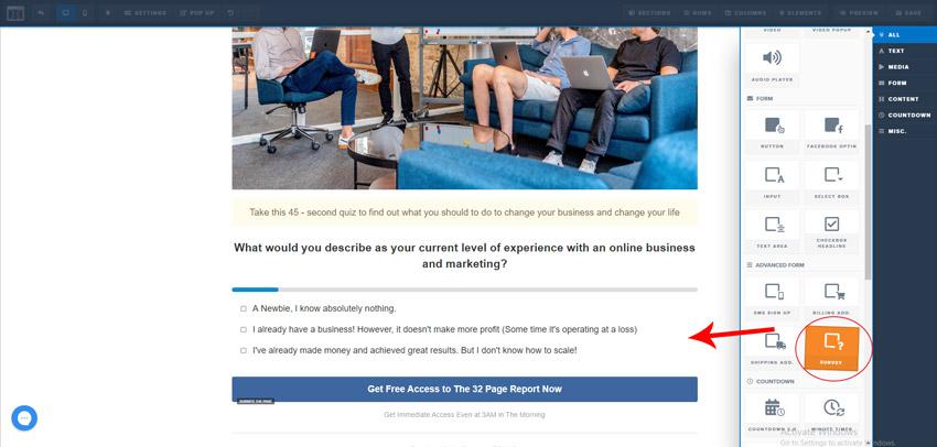 Add survey in clickfunnels