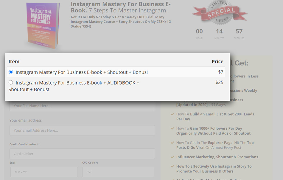 Instagram Mastery For Business ebook checkout