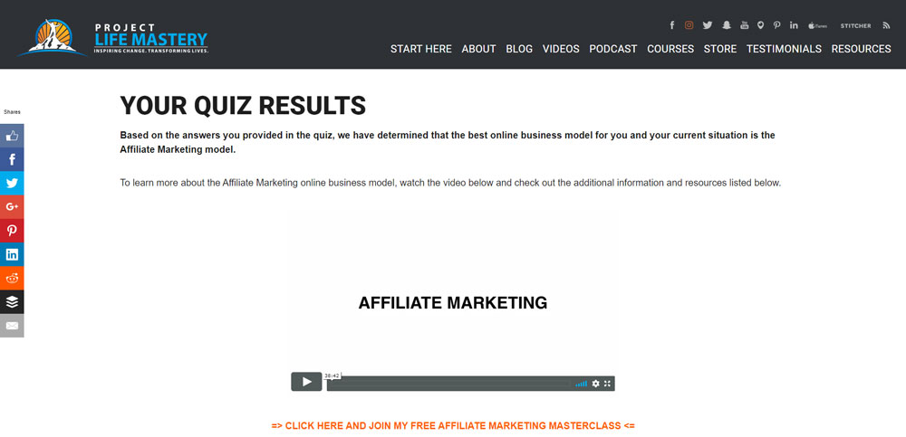 Project-life-mastery-survey-funnel-result-page