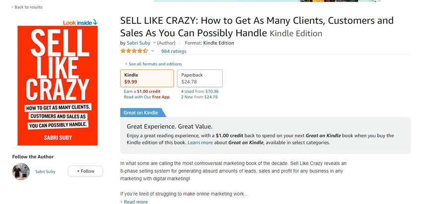 Sell Like Crazy book price amazon