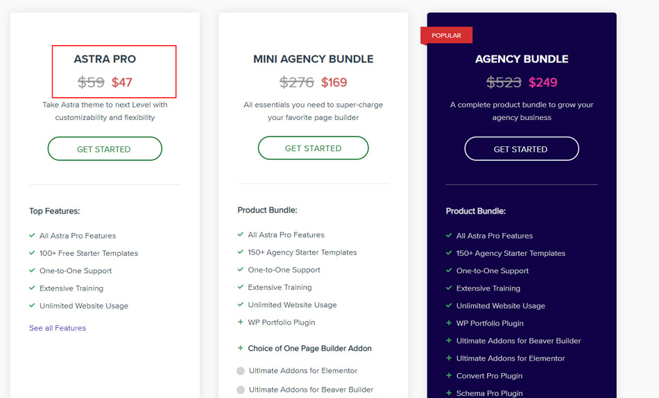 wp-astra pricing page discount