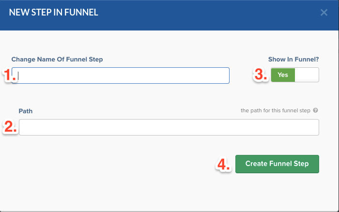 clickfunnels set up funnel step