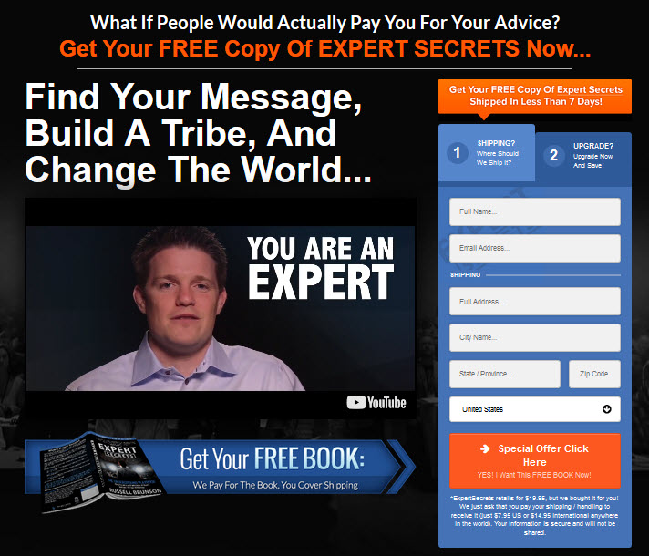 expert secrets book homepage