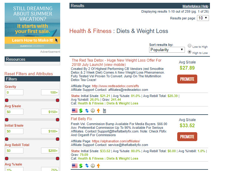 Clickbank Diet and weight loss products