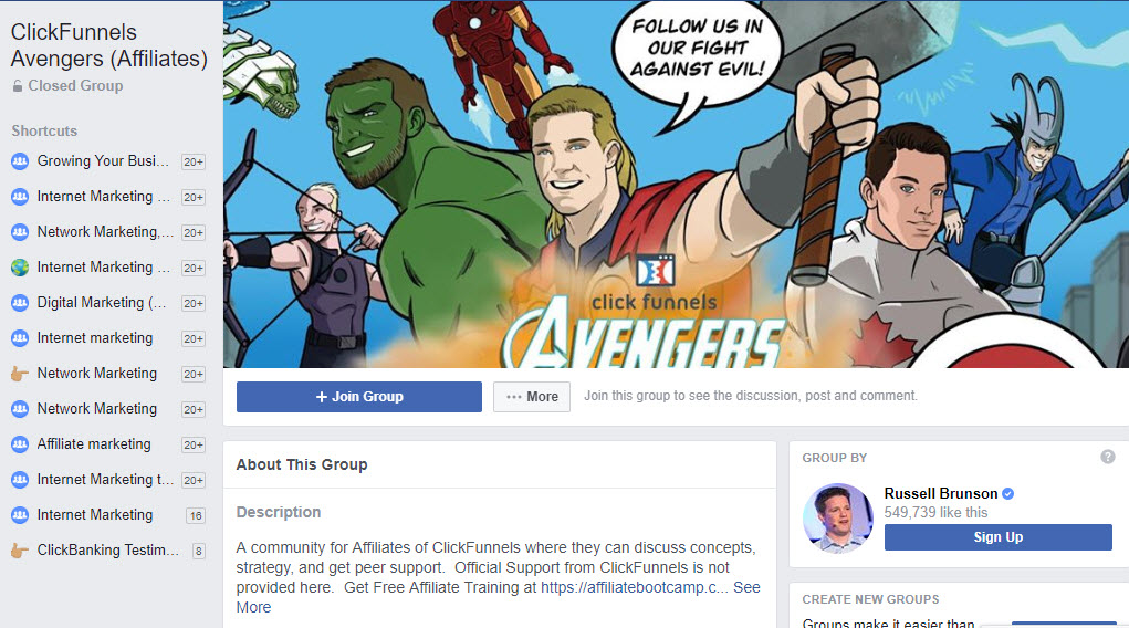 Clickfunnels avengers affiliate group