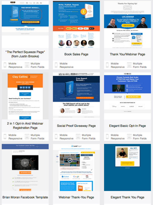 leadpages landing page template - sales funnel software