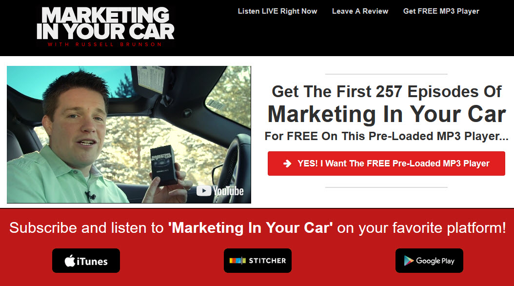 marketing in your car podcast review