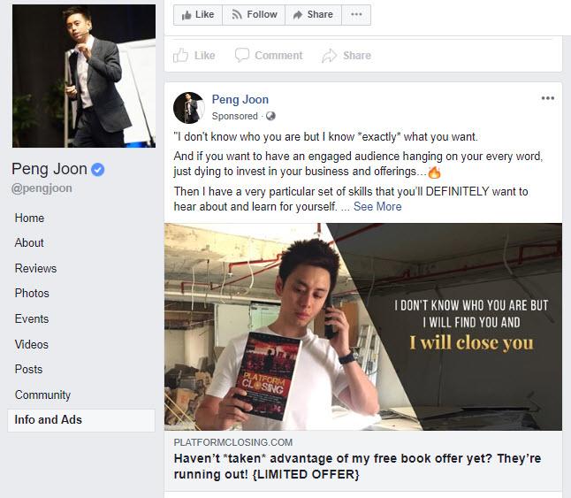 peng joon platform closing - facebook ads