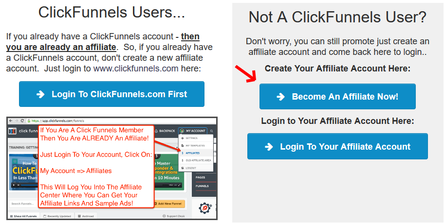 Clickfunnels Affiliate program login