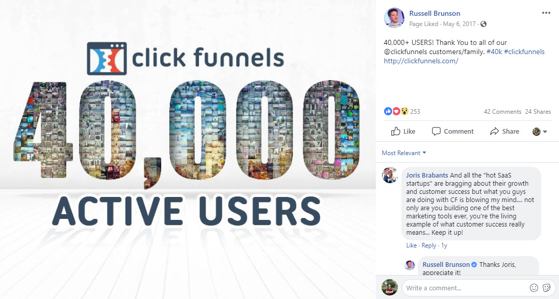 Russell Brunson - Clickfunnels active users