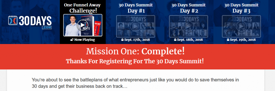 30 Days Summit Review: One Funnel Away Challenge Coming Back