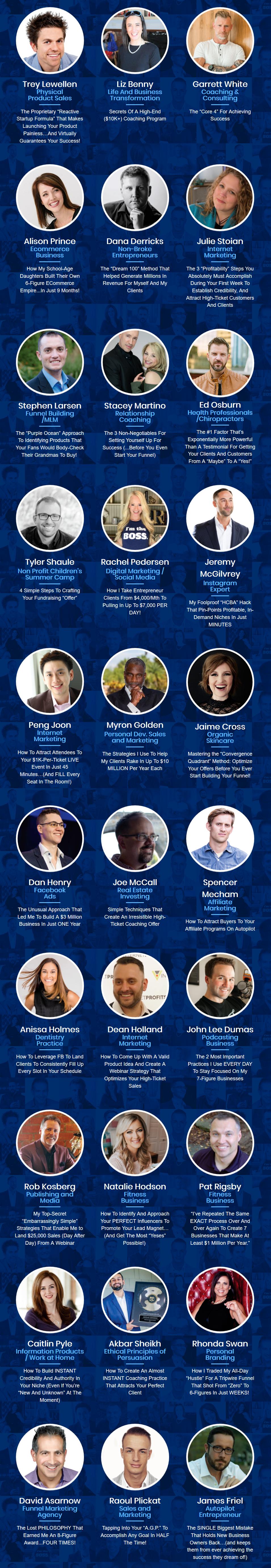 30 days summit speakers - two comma club winners team