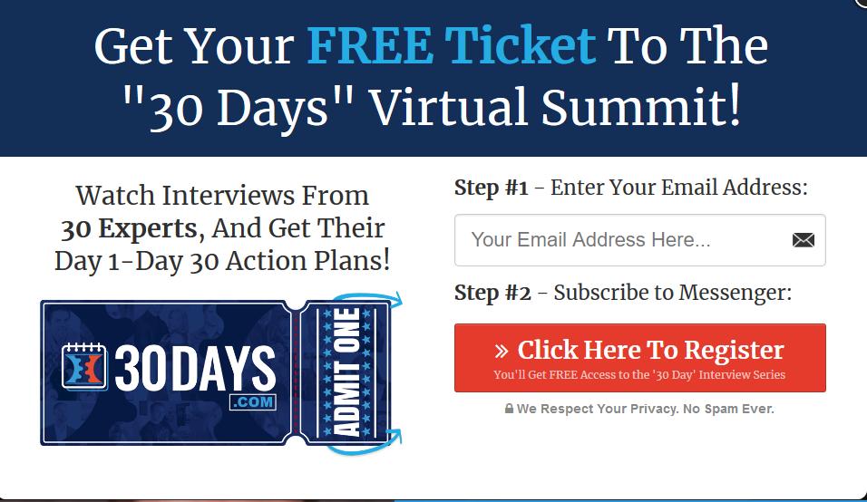 30 days summit tickets - pop up