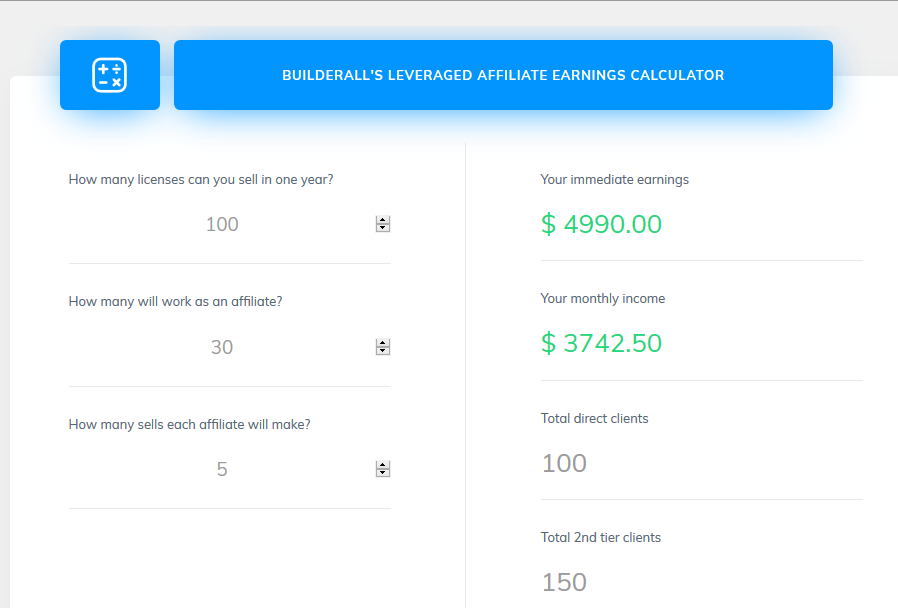 Builderall's Leveraged Affiliate Earnings Calculator - builder all affiliate program