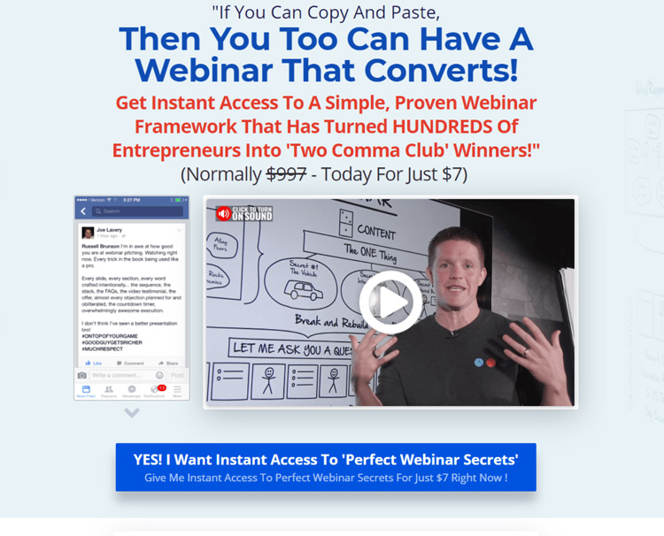 The perfect webinar secrets sales page