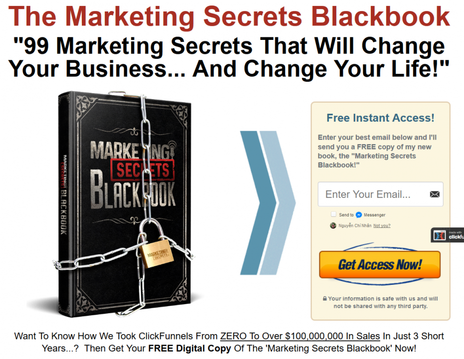marketing secrets blackbook sign-up page