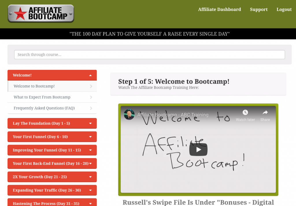 affiliate bootcamp 100 days