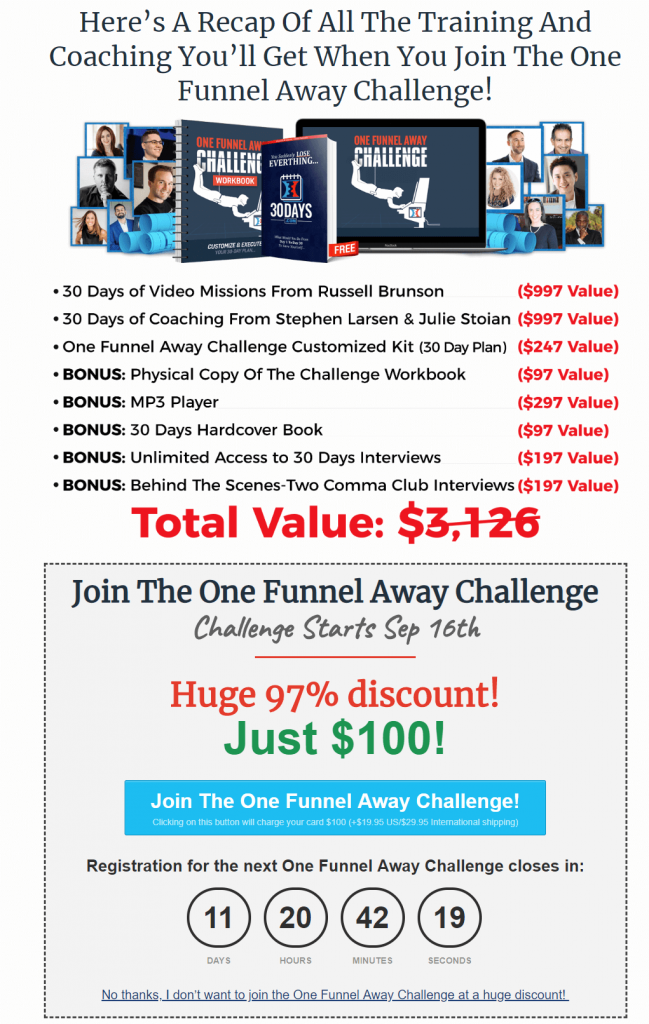 One funnel away challenge price and value