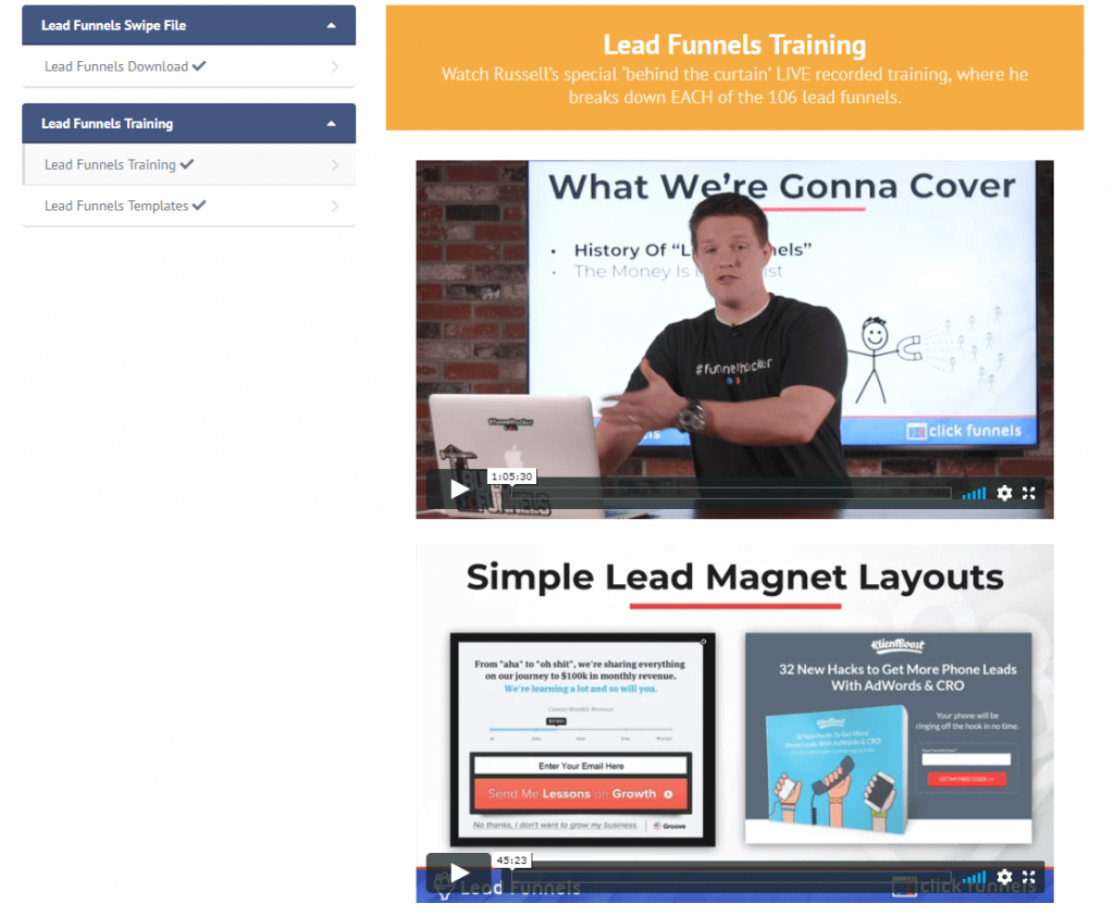 lead funnels russell brunson live training