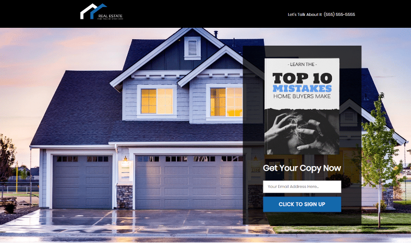 real estate sales funnel - landing page