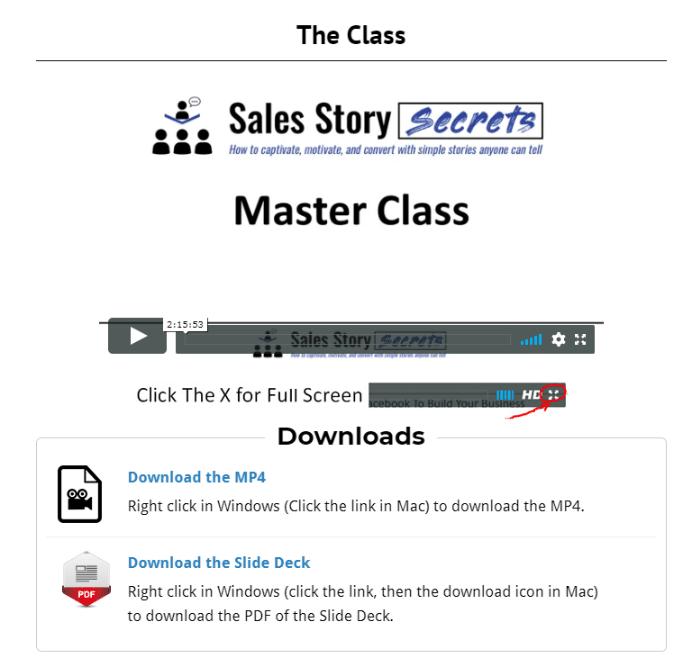sales story secrets masterclass