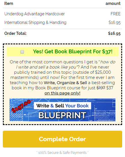 Underdog upsell - Write And Sell Your Book Blueprint