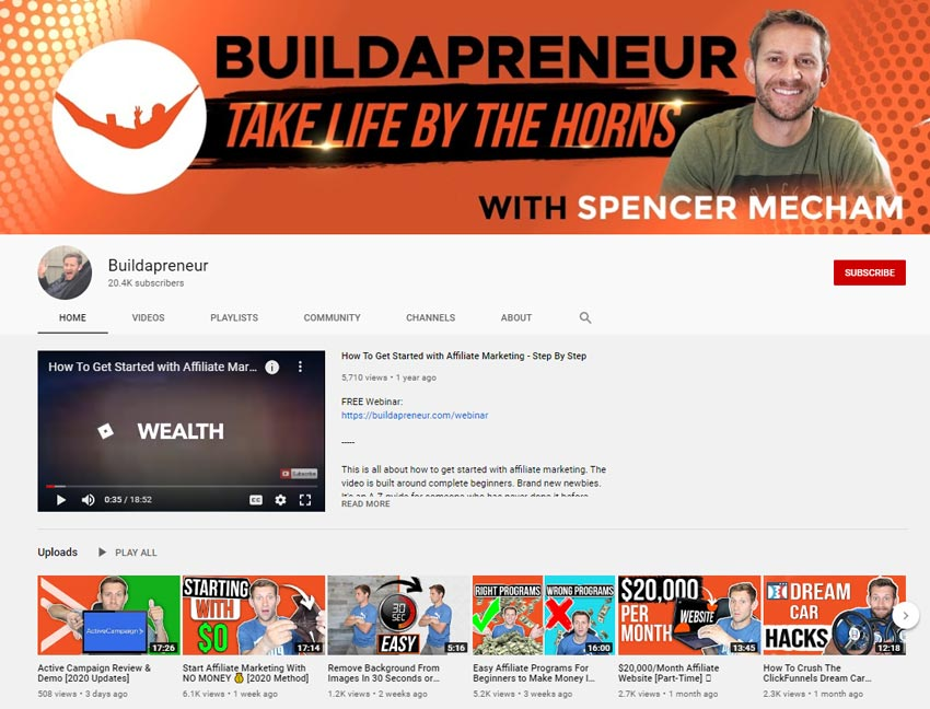 Spencer-Mecham-buildapreneur-youtube-channel