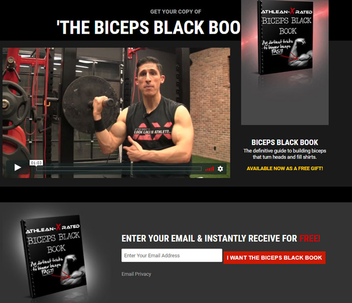 Lead magnet examples guide: BICEPS BLACK BOOK