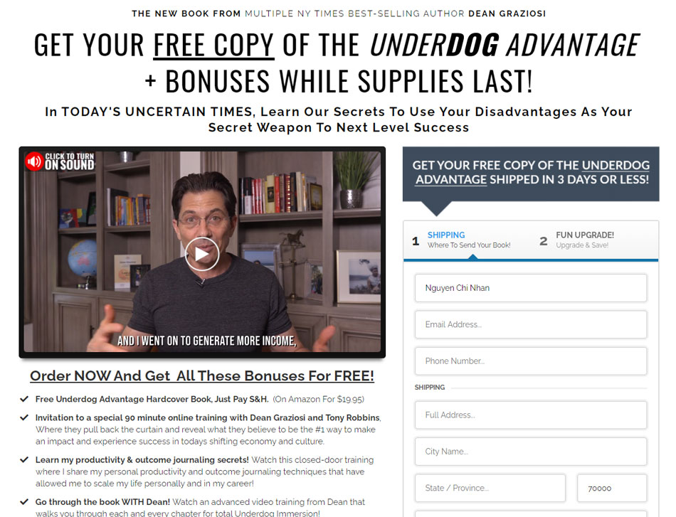 Underdog-advantage-book-free-and-shipping-funnel