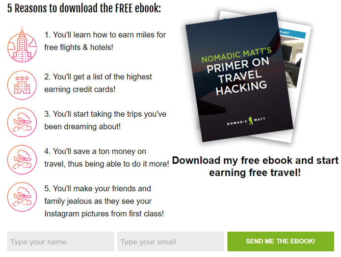 lead magnet examples: Primer On Travel Hacking