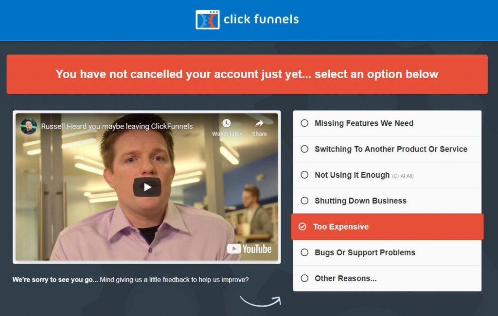 Cancel Clickfunnels account