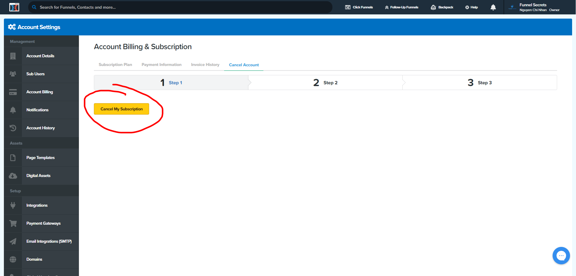 how to cancel clickfunnels