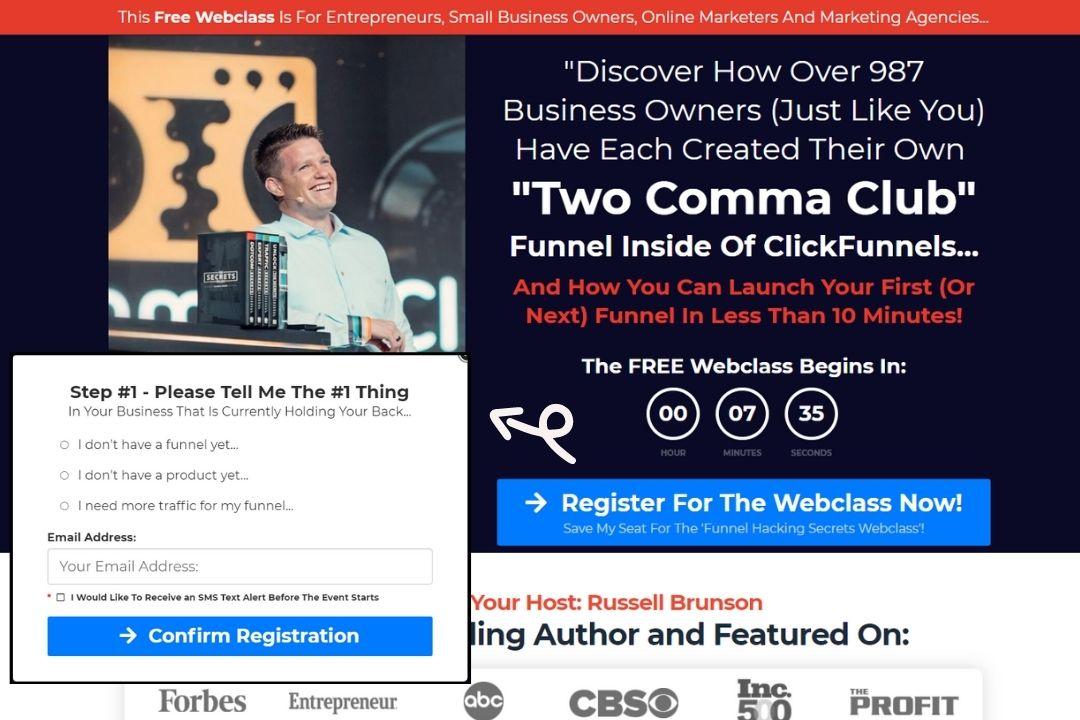 Funnel hacker Secrets webinar funnel registerpage