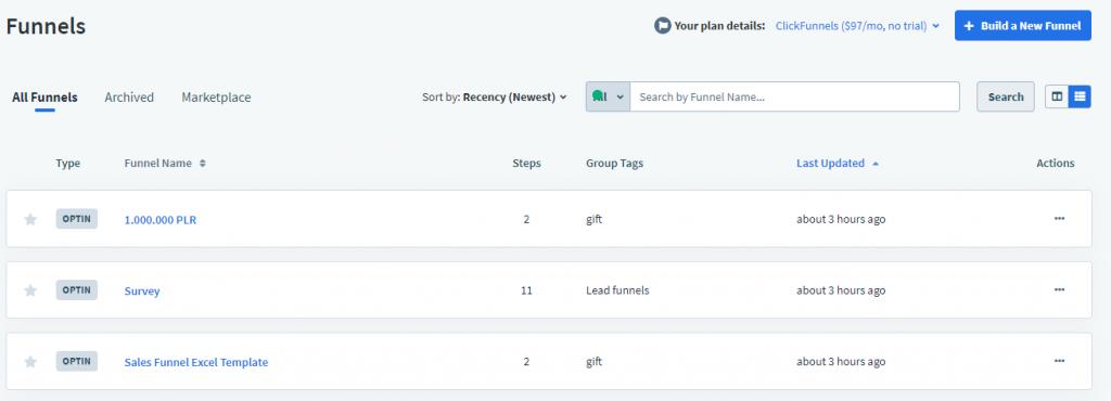 create new application funnel inside clickfunnels