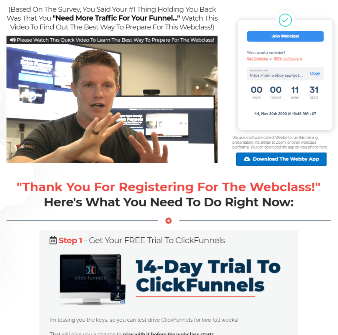 funnel hacking secrets webinar funnel thank you page