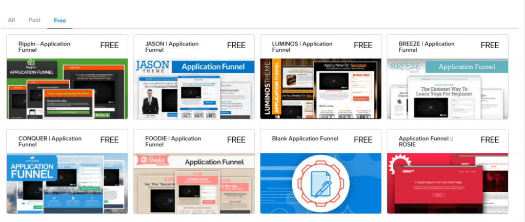 pick application funnel template you liked