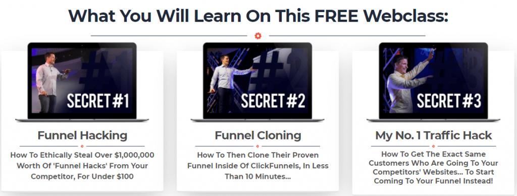 use the three core secrets in webinar funnel webclass