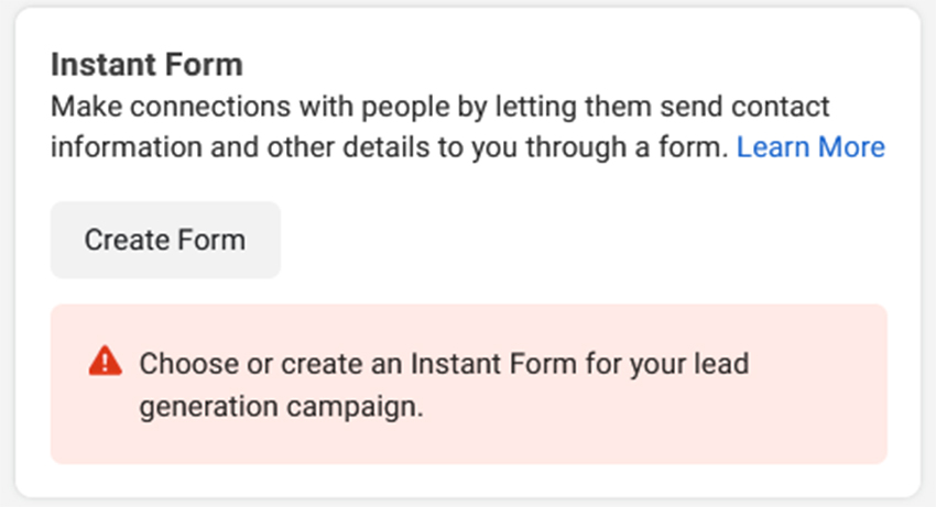Facebook-Instant-Form-section