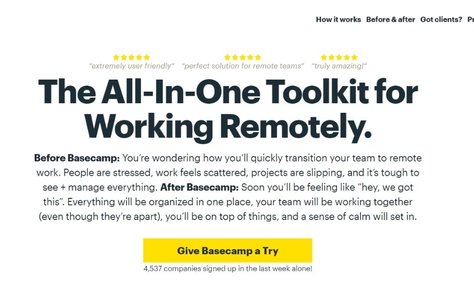 Basecamp homepage exampels