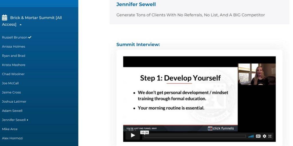 Brick and mortar summit interview membership areas