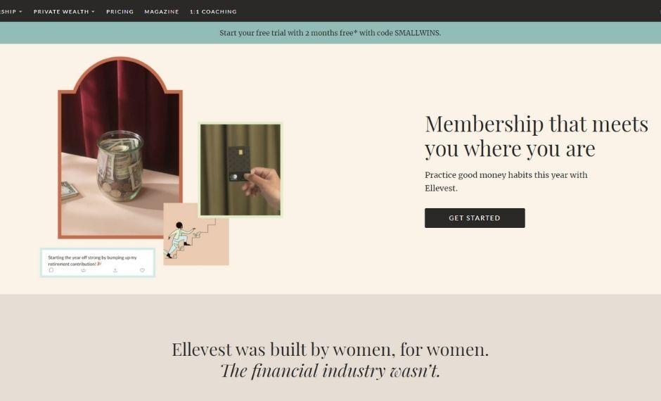 Ellevest lead generation website homepage