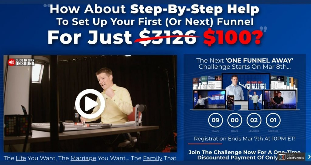 One Funnel Away Challenge review sales page