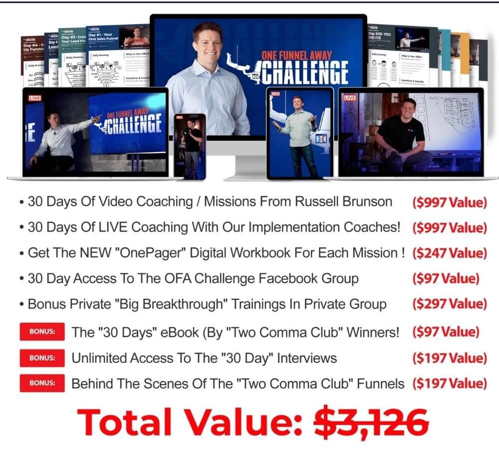 One Funnel Away challenge price and bonus
