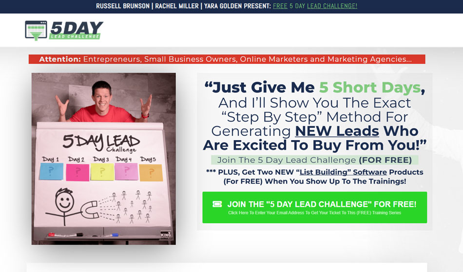 Clickfunnels training course: 5 days lead challenge