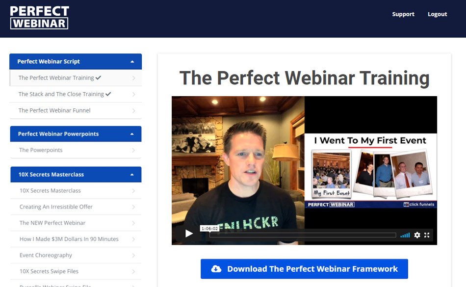 Clickfunnels training course: perfect webinar secrets