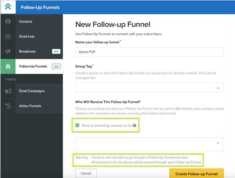Clickfunnels follow up funnel feature
